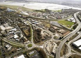 Aerial view over Widnes bridge route – March 2015