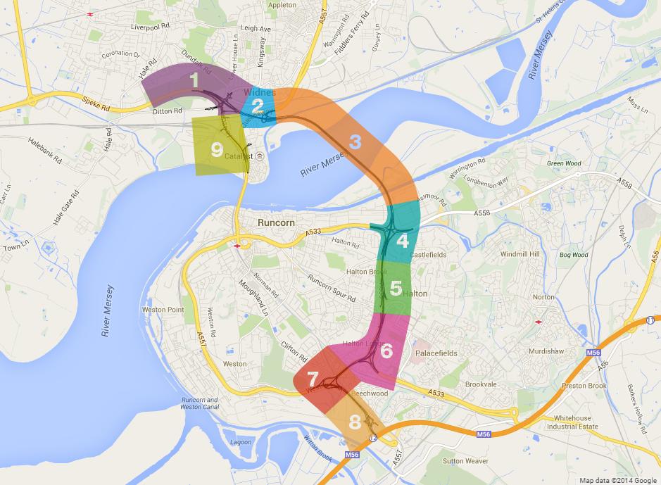 Mersey Gateway Map Mersey Gateway | HAL | Runcorn/Widnes | Cable stayed Road Bridge